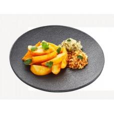 Доставка  Картофель запеченный, солёные огурцы, лук-фри и зелень из Теремок